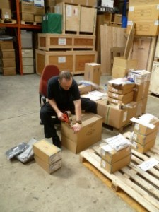 Operations Manager Damion Kinnell packing with care IT equipment